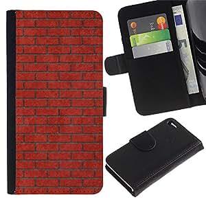 KingStore / Leather Etui en cuir / Apple Iphone 4 / 4S / Pared de ladrillo Rosa Rojo Significado Música