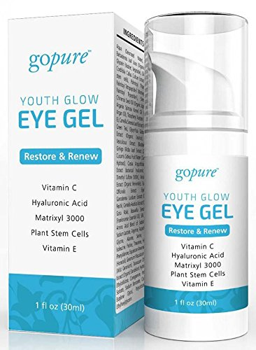 goPure Eye Gel - with Plant Stem Cells, Matrixl 3000, Hyaluronic Acid - Under Eye Gel for Dark Circles, Puffiness, and Wrinkles - 1oz