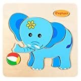 DOINSHOP Wooden Puzzle for Toddlers Educational Developmental Baby Kids Training Toy 12M-5T(Elephant )