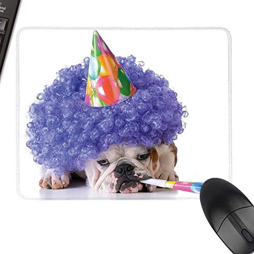 Kids Birthday Hot Selling Extra Large Mouse Pad Boxer Dog Animal with Purple Wig with Colorful Party Cone Funny Photo Print Natural Rubber Gaming Mouse Mat 35.4