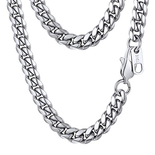 PROSTEEL Stainless Steel Cuban Link Chain Curb Chain Necklace Chain Choker 18'' Gift for Him Boy Men Jewelry ()