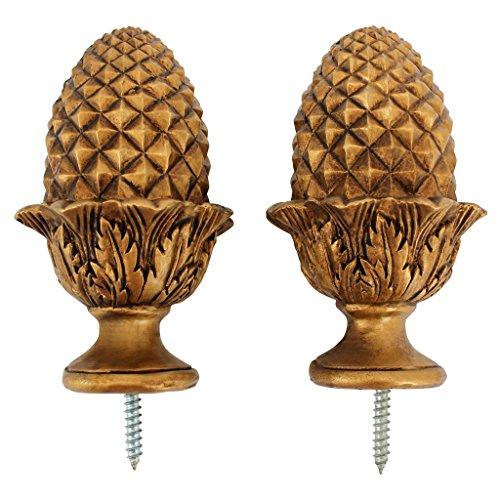 Design Toscano Golden Acorn Finials, - Acorn 2 Rod Finials