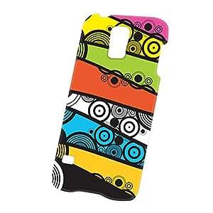 Case Fun Samsung Galaxy S5 (i9600) Case - Ultra Slim Version - Full Wrap Edge to Edge Print - Multicoloured Circle and Swirls