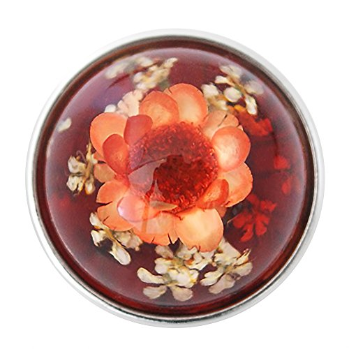 (Lovmoment Snap Man-made Amber with Flower Snaps Buttons Jewelry Charms (Orange))