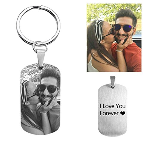 Illango Personalized Photo Key Chain Titanium Steel Engraved Memory Gift For Men Dog Tag KeyChain For Fathers Day Gifts - Black and White