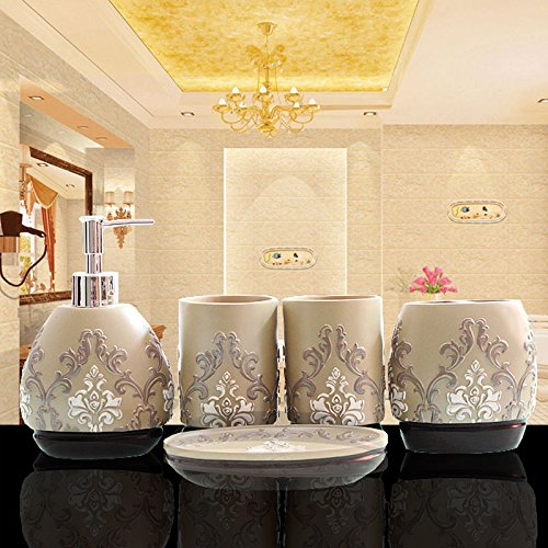 5-Piece Resin Bathroom Accessory Set with Soap Dish, Dispenser, Toothbrush Holder and Tumbler, Yellow