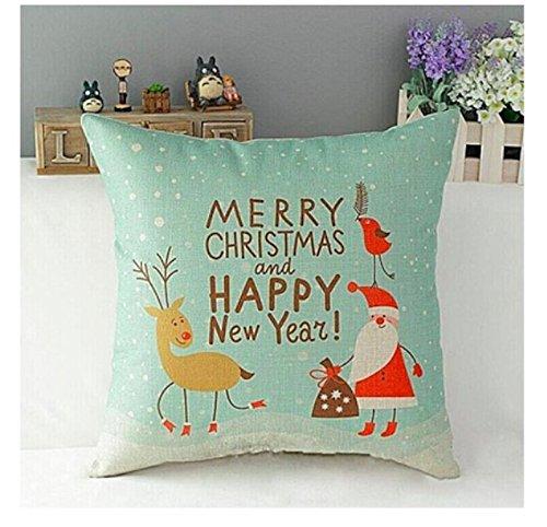 18 x 18カラフルクリスマスThrow枕( Merry x-mas and Happy NY、ミント) B076PTV2QV