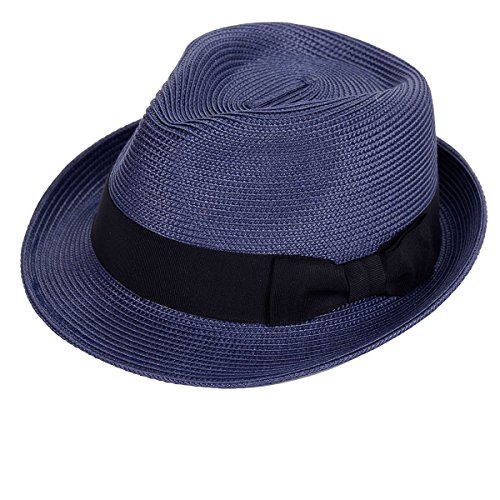 (Straw Fedora Hat Sun Trilby Unisex Summer Beach Hats Fashion Panama with Short Brim for Men and Women)