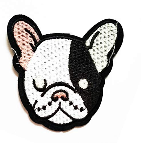 Nipitshop Patches Cute Dog Sad face Bulldog Pitbull Dog Pet Cartoon Kids Patch Embroidered Iron On Patch for Clothes Backpacks T-Shirt Jeans Skirt Vests Scarf Hat Bag