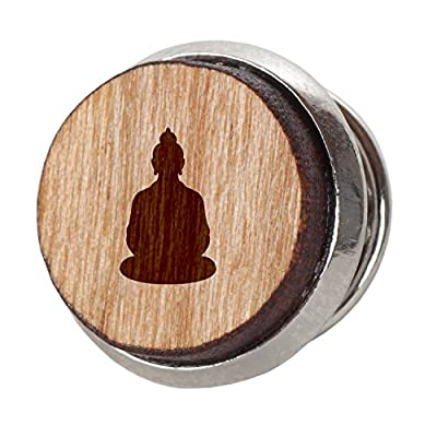Buddha Stylish Cherry Wood Tie Tack- 12Mm Simple Tie Clip With Laser Engraved Design - Engraved Tie Tack Gift