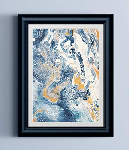 Blue White Gold Abstract Fluid Painting Fine Art Print ()