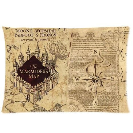 ZhouBrand HARRY POTTER Cotton And Polyester The Marauder's Map 16 by 24 Inch Rectangle Zippered Pillowcasess Covers (Marauders Map Throw)