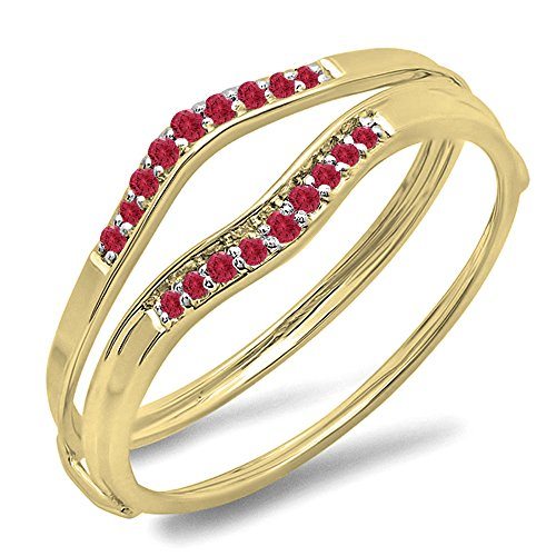 Dazzlingrock Collection 0.12 Carat (ctw) 10K Yellow Gold Round Red Ruby Anniversary Enhancer Guard Wedding Band (Size 7) -