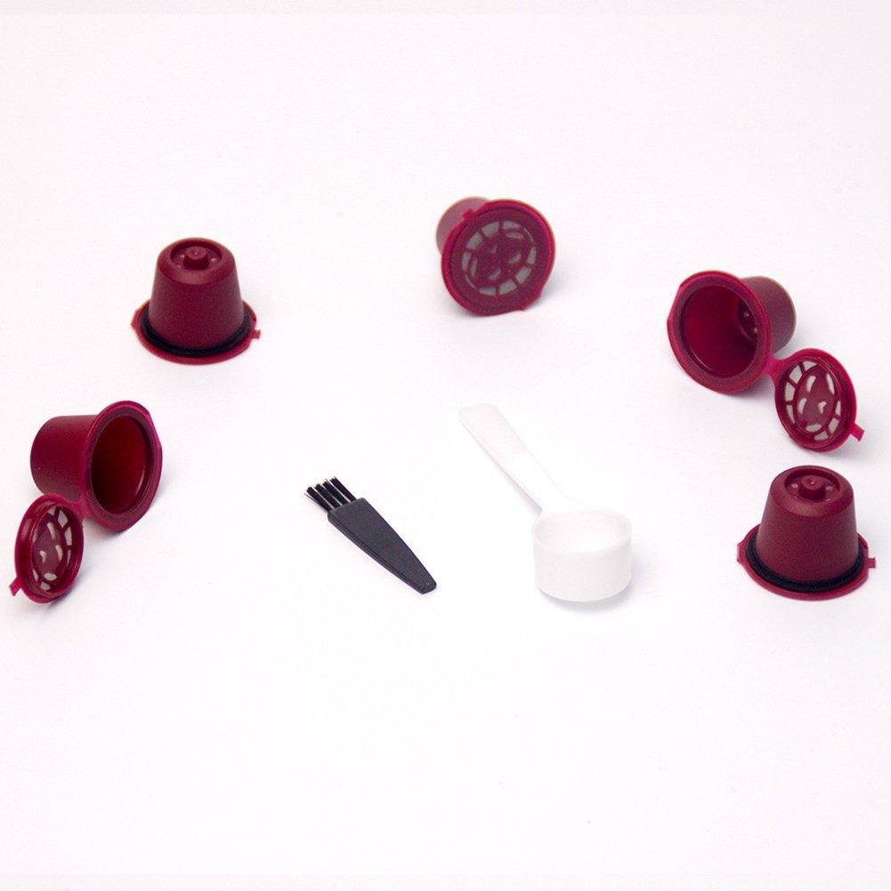 Dandeliondeme 5pcs filtres de Capsules à café Tasses à thé Rechargeables Filtre réutilisable Pod avec cuillère pour café, Maison, Bureau