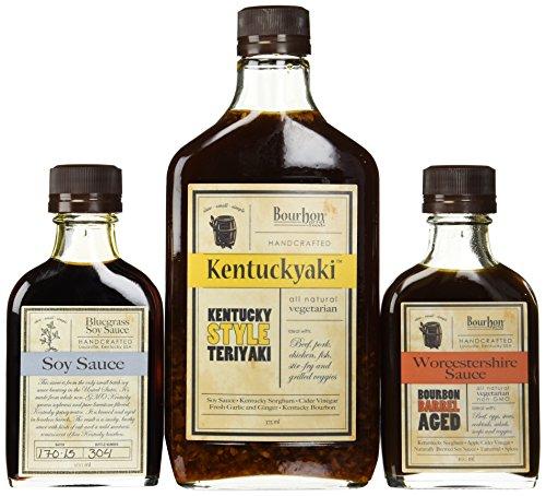 Bundle of 3 - Bourbon Barrel Sauces - Bluegrass Soy Sauce, Aged Worcestershire Sauce and Kentuckyaki by bourbon barrel foods