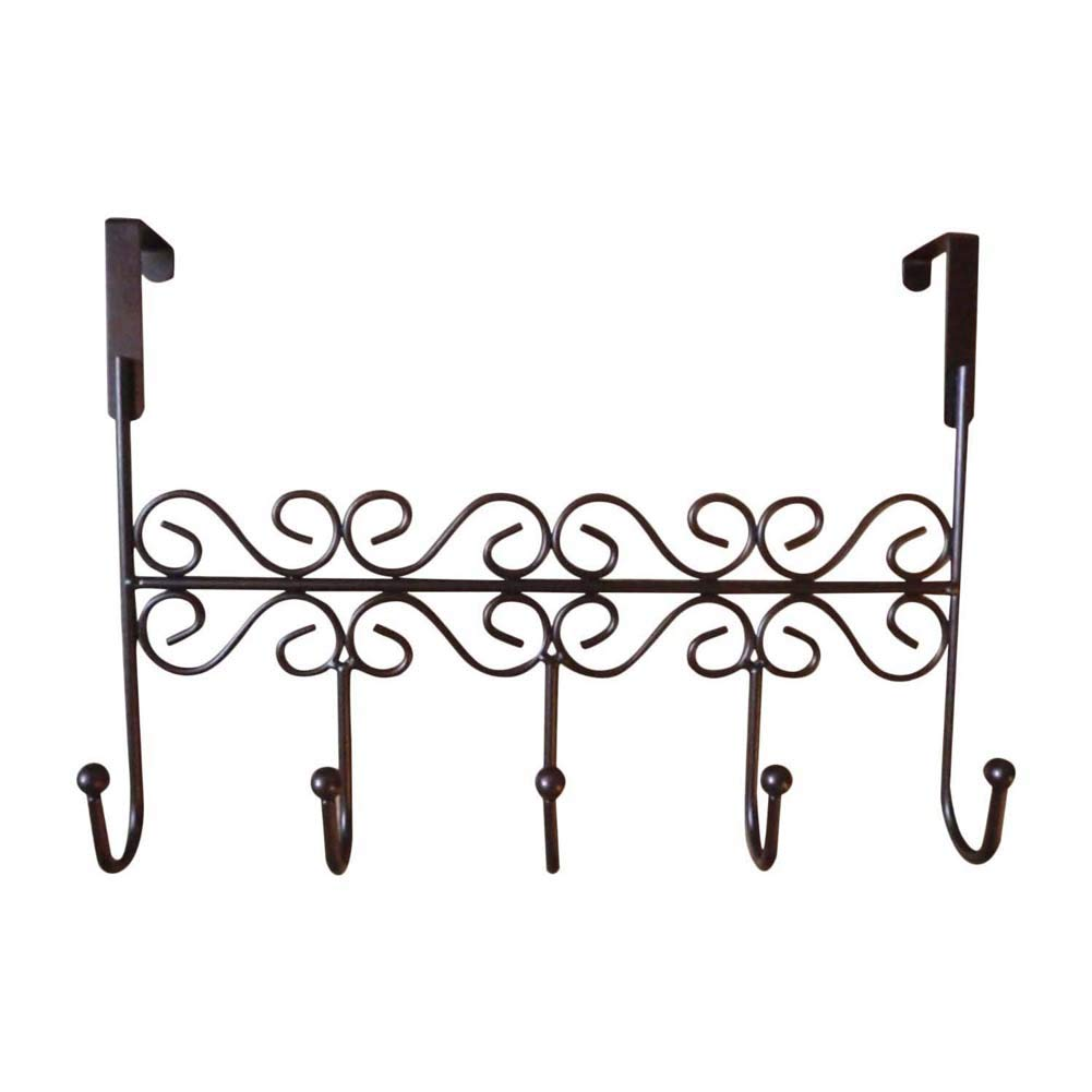 HOUTBY Home Office Hanger Hook Over The Door Holder Rack for Hanging Clothes Bag Hat Towels Organizer Accessory, Bronze
