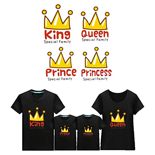4 Pcs Family Iron On Stickers Heat Transfer Patches Waterproof with King Queen Prince Princess Applique for Cloth Decoration Family Party, Family Activities, Valentine