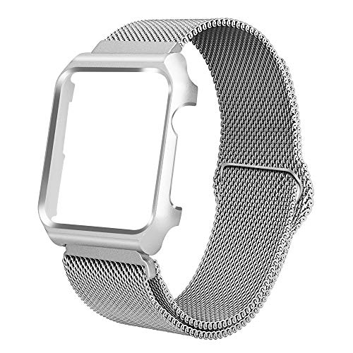 ALNBO Compatible with Apple Watch Band Stainless Steel Mesh Magnetic Replacement Wrist Band with Metal Protective Case for iWatch Series 4 44mm ()