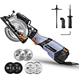 "TACKLIFE Circular Saw, 6.2A 750W Compact Saw with Laser Guide, 6 Variable Speed, Vacuum Adapter, Rip Guide, 6 Pcs Blades(5"" & 4-1/2""), 10 Feet Cord 