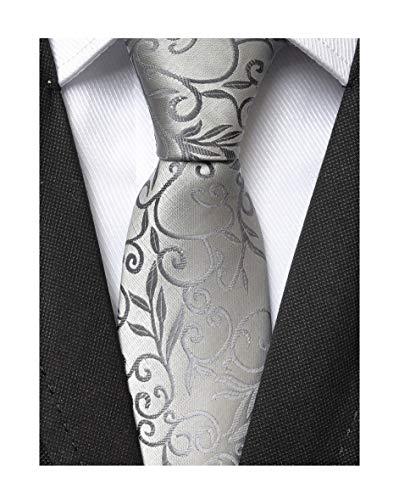 Mens Silver Grey Tie Floral Woven Silk Unique Funny Custom Necktie for Gentleman