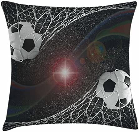 Ambesonne Teen Room Throw Pillow Cushion Cover, Soccer Balls Goal Match Success Concept in The Outer Space Winner Glory Theme, Decorative Square Accent Pillow Case, 24 X 24 , Black Magenta