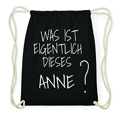 JOllify ANNE Hipster Turnbeutel Tasche Rucksack aus Baumwolle - Farbe: schwarz Design: Was ist eigentlich 9aZMHy5NrN
