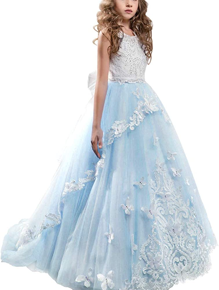 Kid Girls Lace Cocktail Wedding Prom Trailing Dresses Gown Flower Girl Dress New