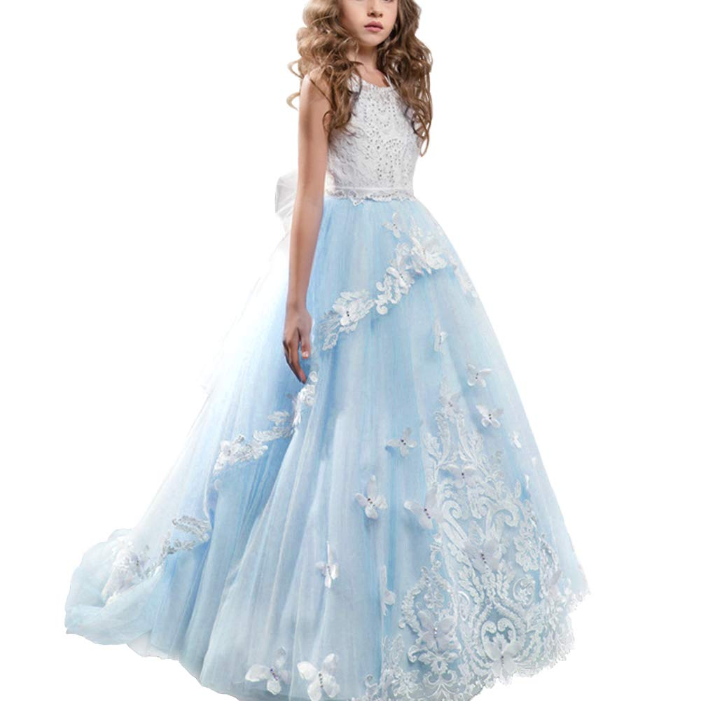 Amazon.com  Girls Floral Lace Floor Length Princess Pageant Dress Kids Prom  Puffy Tulle Ball Gown Wedding Evening Party Flower Dress  Clothing d10f7d3647c8