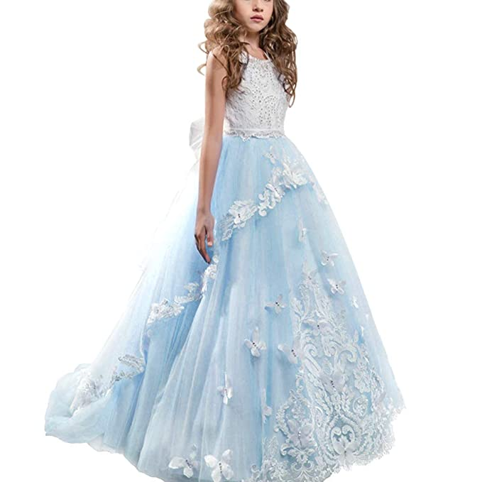 dea9524586a86 Girls Floral Lace Floor Length Princess Pageant Dress Kids Prom Puffy Tulle  Ball Gown Wedding Evening Party Flower Dress