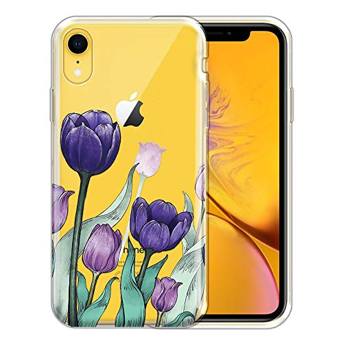 FINCIBO Case Compatible with Apple iPhone XR 6.1 inch, Clear Transparent TPU Silicone Protector Case Cover Soft Gel Skin for iPhone XR - Tulips Flowers