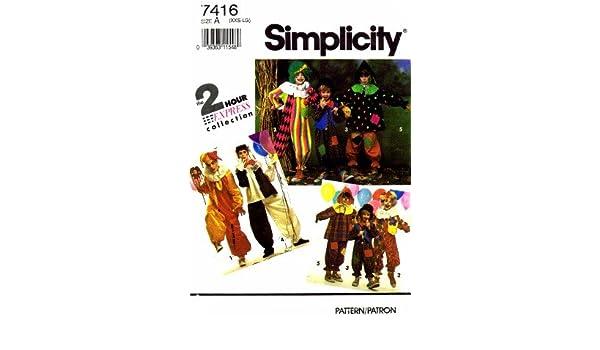 Simplicity 7416 - Patrones de costura para disfraz de payaso ...