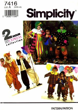 Simplicity 7416 Sewing Pattern Clown Costume Bust / Chest 28 - 44 (Clown Costume Patterns)