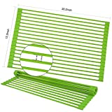 BabyUnion Roll Up Dish Drying Rack, Foldable silicone-coated Stainless steel Over Sink Rack [ Large20.5''L x 13''W],Multipurpose Kitchen Dish Drainer Rack
