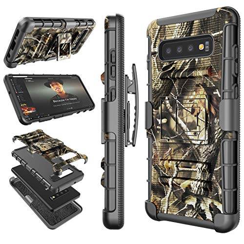 (Tekcoo for Galaxy S10 Case, for Galaxy S10 Holster Belt / S10 Sturdy Cover, [Hoplite] Secure Swivel Locking Belt Defender Full Body Kickstand Carrying Camouflage Phone Cases [Camo] for Samsung S10)