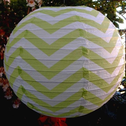 Round Paper Lantern Chevron Assortment (14'', Multicolor, Set of 3, Festive Colors) For Parties, Weddings, Home Decor - Rice Paper Chinese/Japanese Hanging Decorations
