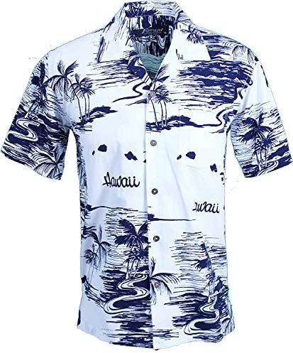 Tropical Luau Beach Map Print Men\u2019s Hawaiian Aloha Shirt