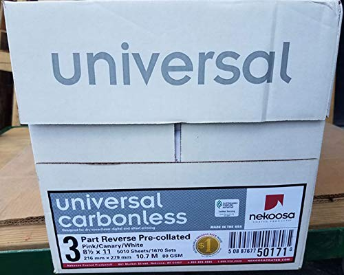 8.5 x 11 Nekoosa Universal Carbonless Paper, 3 Part Reverse (Bright White/Canary/Pink), 1670 Sets, 5010 Sheets, 10 Reams by PSD (Image #3)
