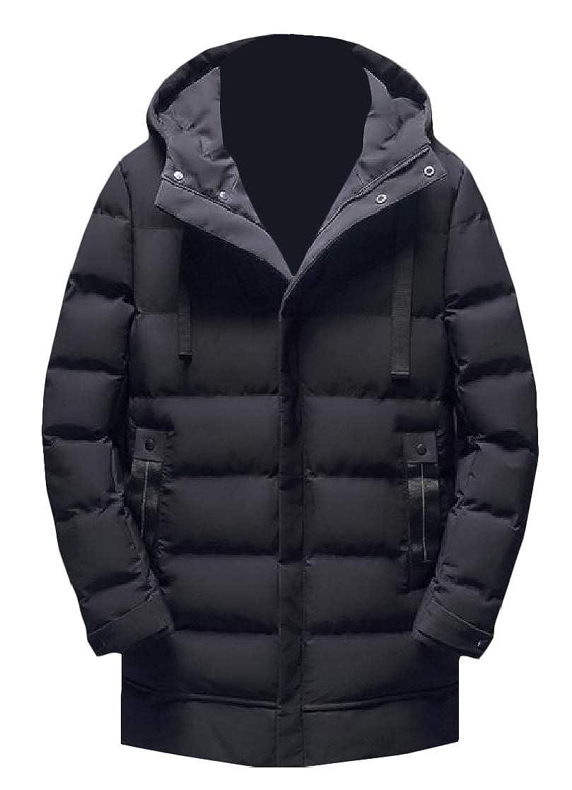 YUNY Men Plus-Size Outwear Winter Long Style Standard-fit Warm Hooded Anorak Jacket Black 2XL