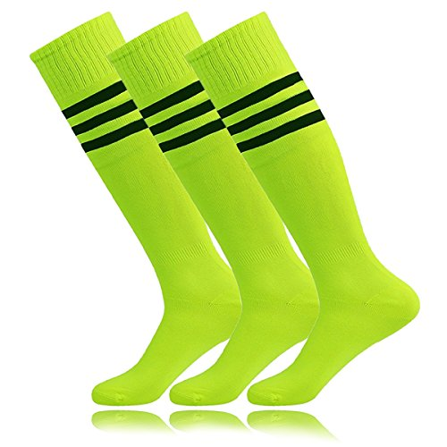 Unisex Tube Dresses Athletic Hockey Tube Soccer Socks Neon Yellow for High School Students El lunes en la red Porristas Baile April Fool's Day (3Pairs-Fluorescence (Football Tube Socks)