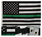 AES 3x5 Embroidered USA Thin Green Line Border Patrol 220D Nylon Flag 3'x5' Fade Resistant Double Stitched Premium Penant House Banner Grommets