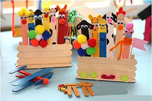 Moonnight Store Colored Wooden Popsicle Sticks Natural Wood Ice Cream Sticks Kids DIY Hand Crafts Art Ice Cream Lolly Cake Tools SN1162 (wood) by Moonnight Store (Image #4)