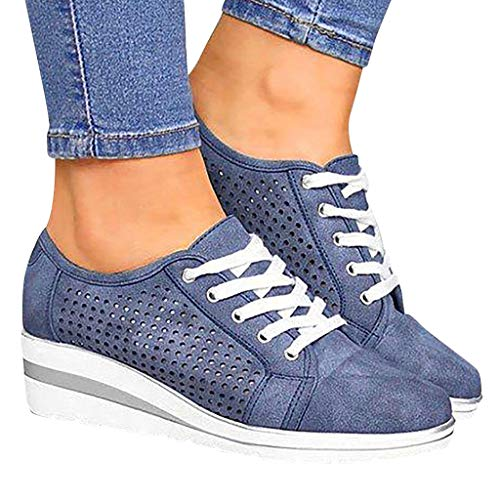 Padaleks Women's Leather Loafers Slip On Platform Wedges Sneakers Hollow Out Breathable Walking Shoes Lace up Blue (Heel Wedge Sneakers)