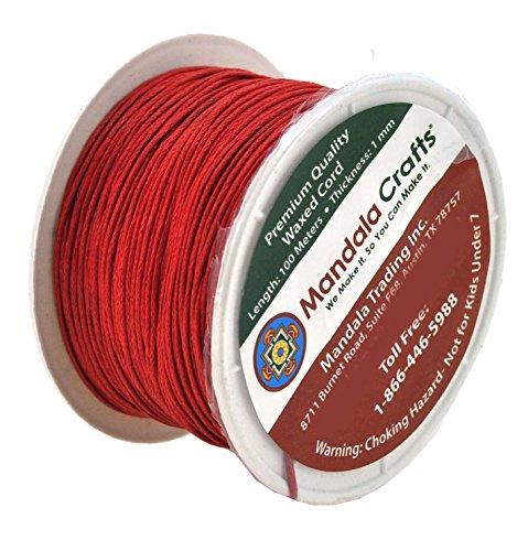 Mandala Crafts 1mm 109 Yards Jewelry Making Crafting Beading Macramé Waxed Cotton Cord Thread (Red)