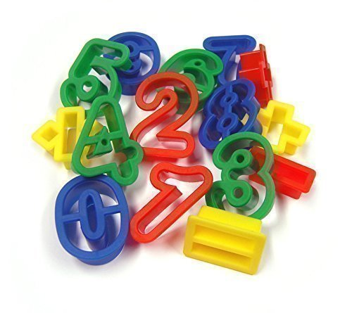 15 Plastic Numbers and Math Symbols Play Dough Cookie Cutter Shapes Major Brushes LTD