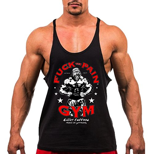 TECOFFER Stringer Singlet Muscle Bodybuilding Men's Tank Top Gym Fitness Vests Sleeveless Size M-XXL (Black, XXL)