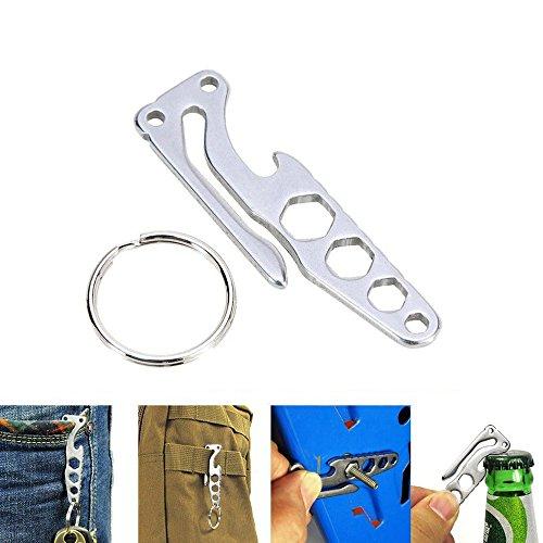 MeanHoo Stainless Steel EDC Buckle Belt Clip Hanger Pocket Holder, Multi-functional Ring Keychain Quickdraw Suspension Hook Allen Wrench Bottle Opener
