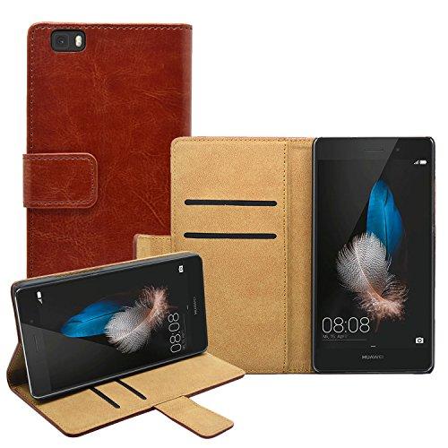 Membrane Funda Huawei P8 Lite Carcasa Cuero Auténtico Negro Piel Cartera Wallet Case Flip Cover Marrón