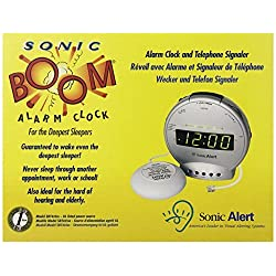 Sonic Alert SBT425ss Digital Sonic Boom Loud Vibrating Alarm Clock with Telephone Signaler by Sonic Alert