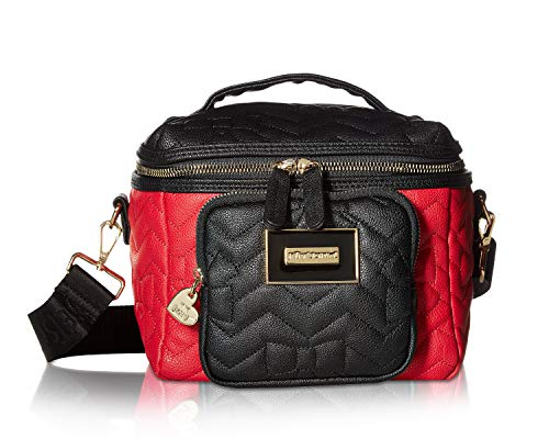 - Betsey Johnson Women's Chevron Bow Quilt Lunch Tote Black/Red One Size