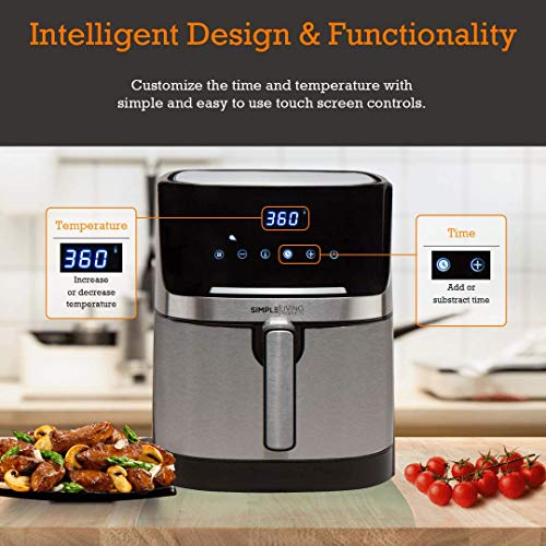 Simple Living Air Fryer, XL 7qt Electric Hot Digital Air Fryer & Oil Less Cooker. Stainless Steel Finish, Custom Recipe Book, 8 Presets & 1 Year Warranty